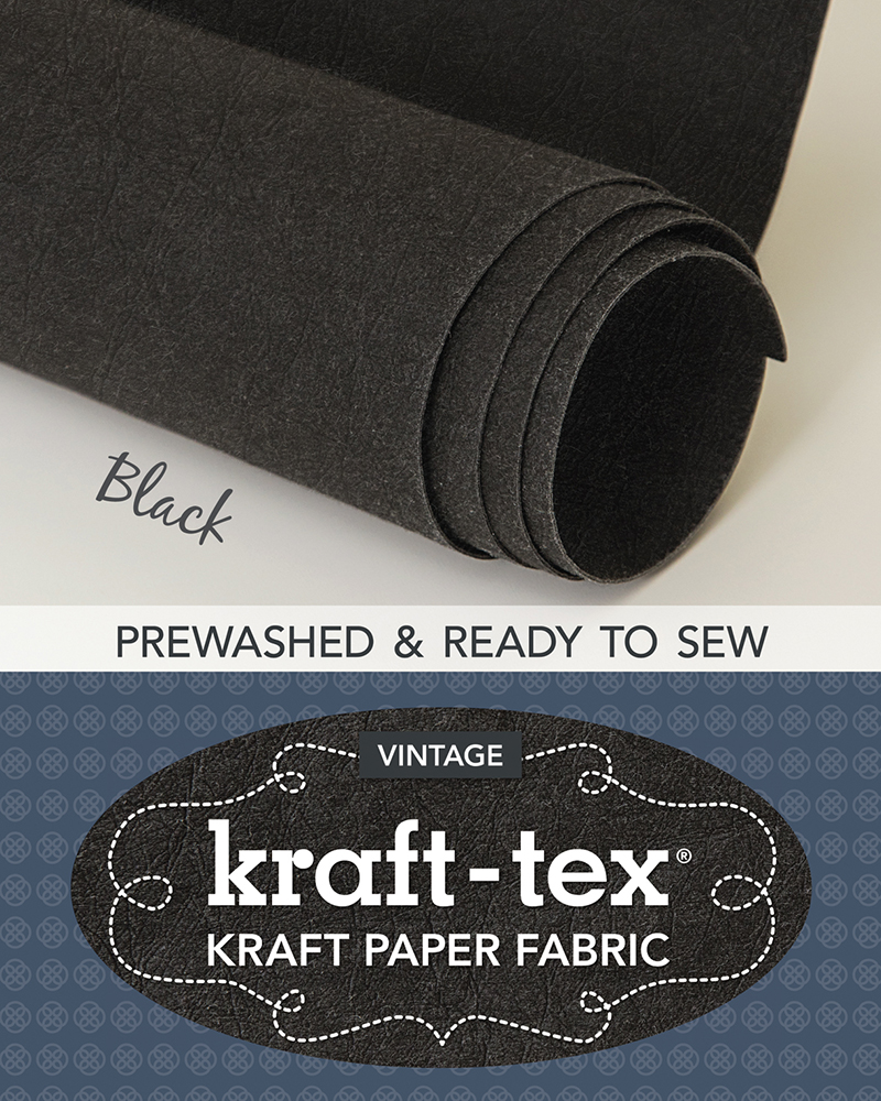 kraft-tex® Vintage Roll, Black Prewashed